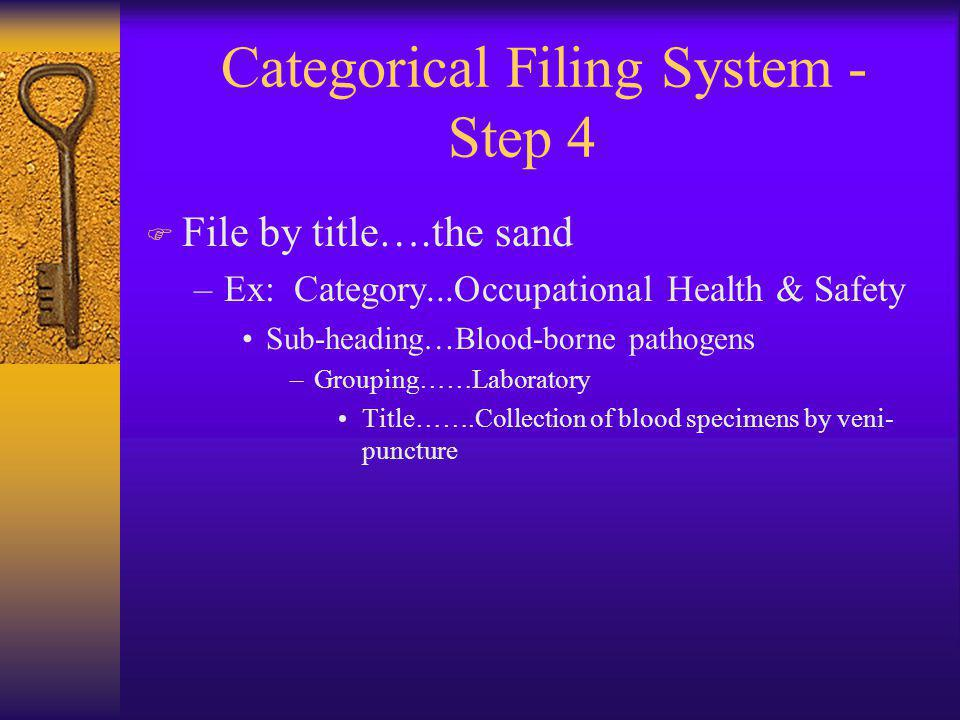 Categorical Filing System - Step 4 F File by title….the sand –Ex: Category...Occupational Health & Safety Sub-heading…Blood-borne pathogens –Grouping……Laboratory Title…….Collection of blood specimens by veni- puncture