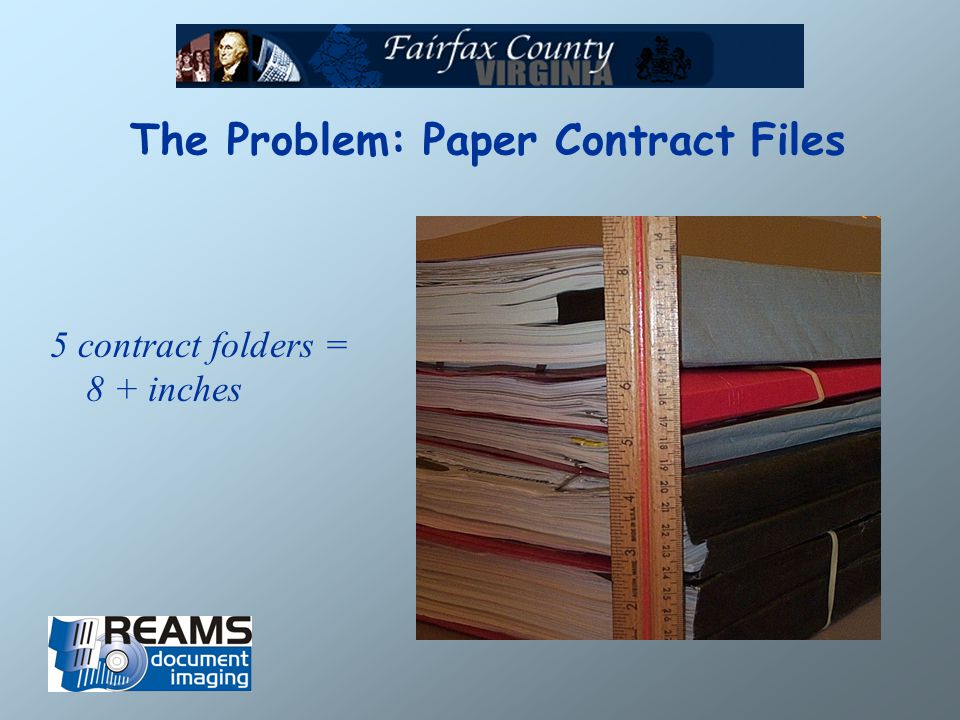 The Problem: Paper Contract Files 5 contract folders = 8 + inches