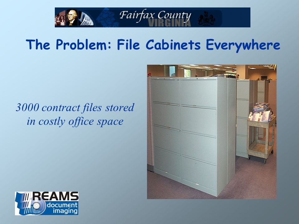 The Problem: File Cabinets Everywhere 3000 contract files stored in costly office space