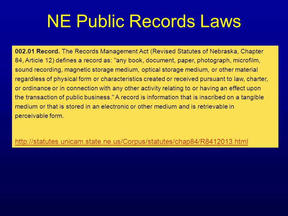 NE Public Records Laws 002.01 Record.