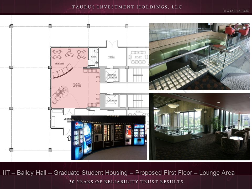 IIT – Bailey Hall – Graduate Student Housing – Proposed First Floor – Lounge Area © AAG Ltd. 2007