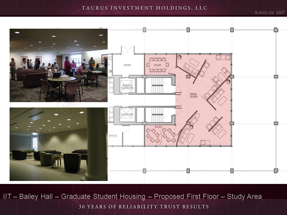 IIT – Bailey Hall – Graduate Student Housing – Proposed First Floor – Study Area © AAG Ltd. 2007