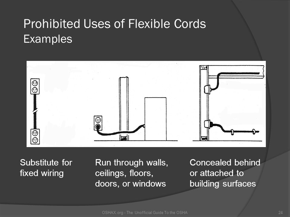 Prohibited Uses of Flexible Cords Examples 24OSHAX.org - The Unofficial Guide To the OSHA Substitute for fixed wiring Run through walls, ceilings, floors, doors, or windows Concealed behind or attached to building surfaces