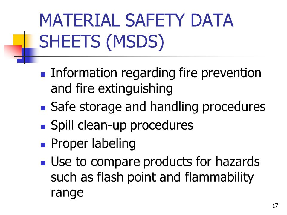16 NFPA LABELING SYSTEM