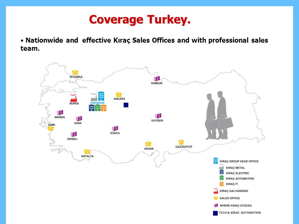 Coverage Turkey.Nationwide and effective Kıraç Sales Offices and with professional sales team.