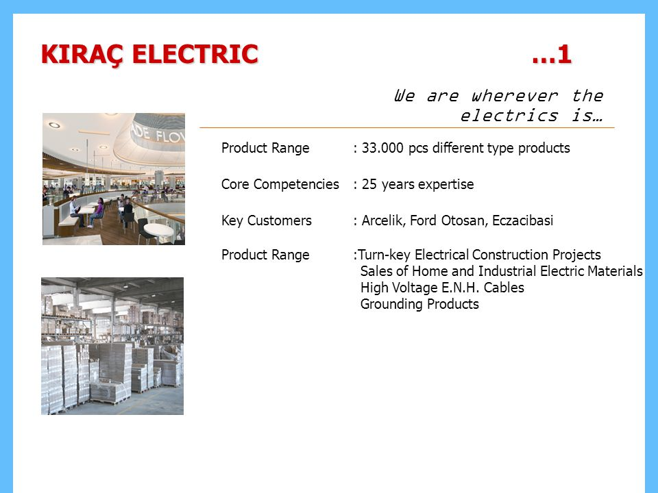 KIRAÇ ELECTRIC …1 Product Range: 33.000 pcs different type products Core Competencies: 25 years expertise Key Customers: Arcelik, Ford Otosan, Eczacibasi Product Range:Turn-key Electrical Construction Projects Sales of Home and Industrial Electric Materials High Voltage E.N.H.