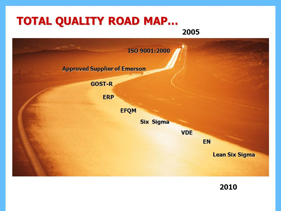 TOTAL QUALITY ROAD MAP… 2005 ISO 9001:2000 Six Sigma Approved Supplier of Emerson Lean Six Sigma 2010 EFQM VDE EN GOST-R ERP