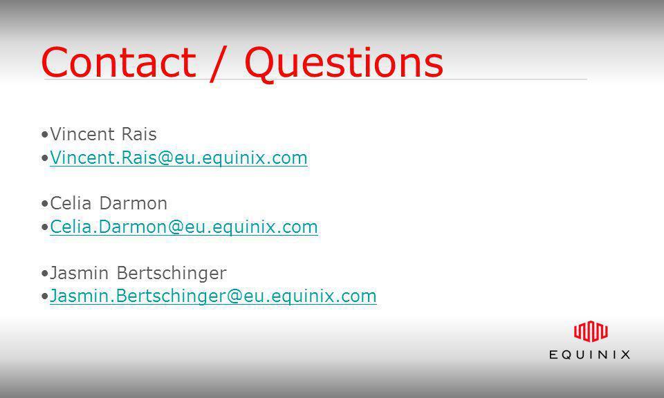 Contact / Questions Vincent Rais Vincent.Rais@eu.equinix.com Celia Darmon Celia.Darmon@eu.equinix.com Jasmin Bertschinger Jasmin.Bertschinger@eu.equin