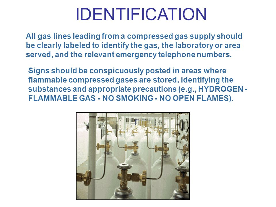 All gas lines leading from a compressed gas supply should be clearly labeled to identify the gas, the laboratory or area served, and the relevant emer