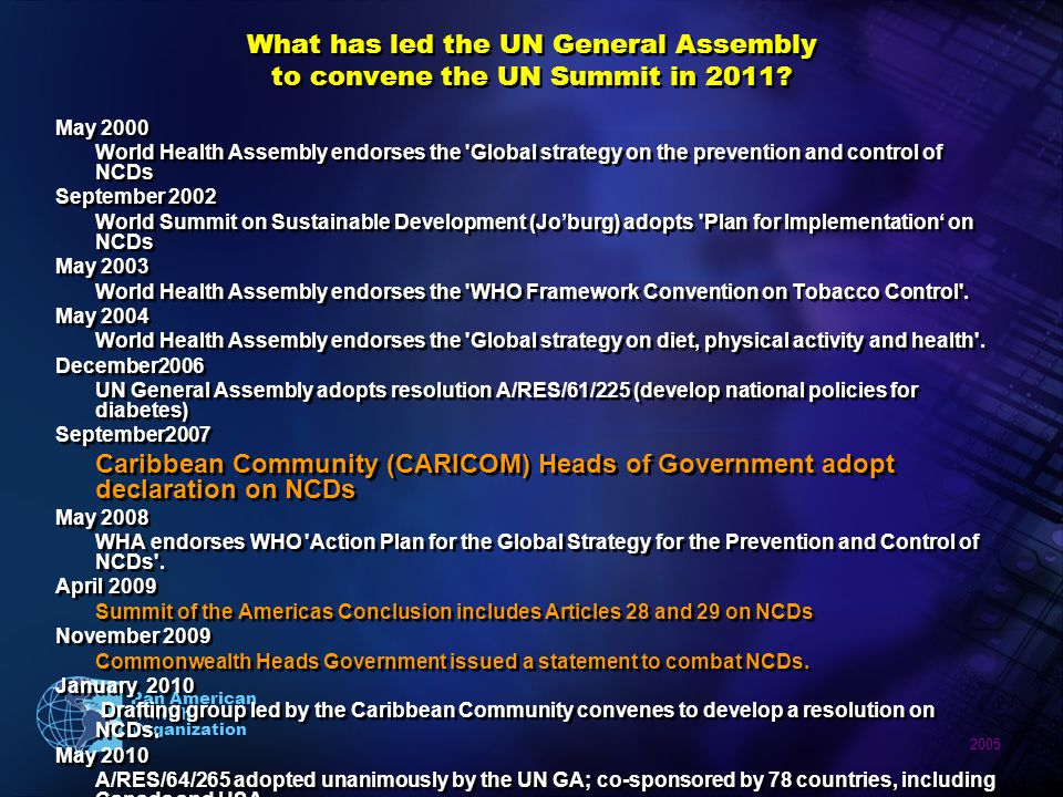 2005 Pan American Health Organization What has led the UN General Assembly to convene the UN Summit in 2011? May 2000 World Health Assembly endorses t