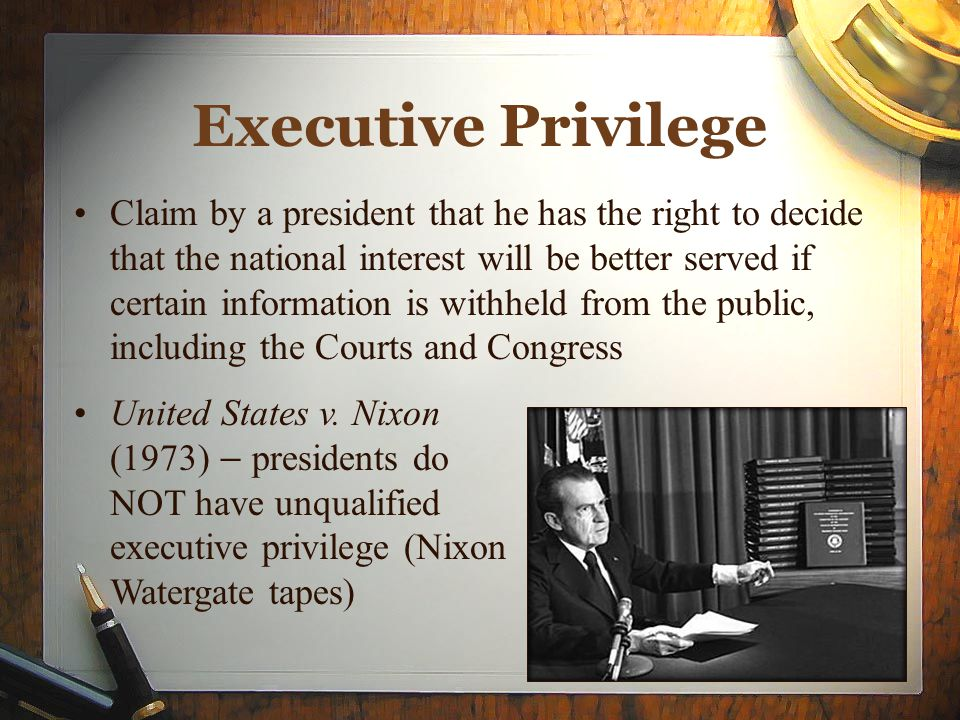 executive privilege Ian millhiser provides a primer for the kagan nomination process on what executive privilege is, why some documents can't be disclosed, and how to overcome it.