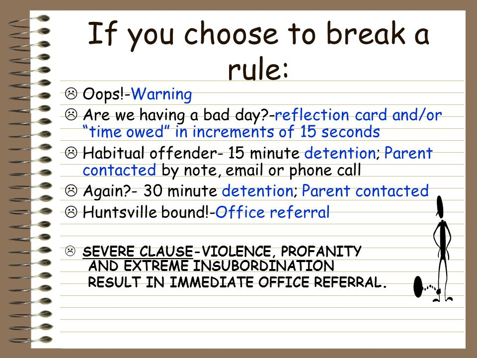 If you choose to break a rule: Oops!-Warning Are we having a bad day?-reflection card and/or time owed in increments of 15 seconds Habitual offender- 15 minute detention; Parent contacted by note, email or phone call Again?- 30 minute detention; Parent contacted Huntsville bound!-Office referral SEVERE CLAUSE-VIOLENCE, PROFANITY AND EXTREME INSUBORDINATION RESULT IN IMMEDIATE OFFICE REFERRAL.