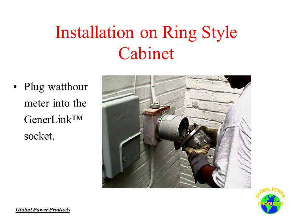 Global Power Products Installation on Ring Style Cabinet Plug watthour meter into the GenerLink socket.