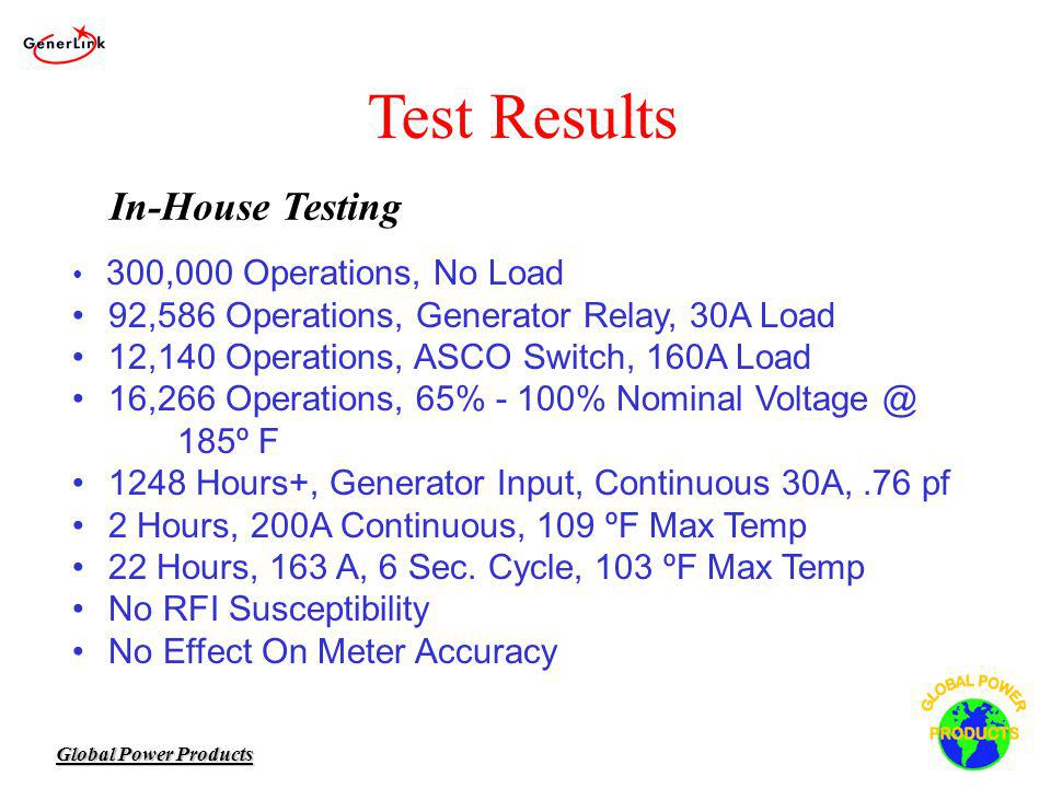 Global Power Products Test Results 300,000 Operations, No Load 92,586 Operations, Generator Relay, 30A Load 12,140 Operations, ASCO Switch, 160A Load 16,266 Operations, 65% - 100% Nominal Voltage @ 185º F 1248 Hours+, Generator Input, Continuous 30A,.76 pf 2 Hours, 200A Continuous, 109 ºF Max Temp 22 Hours, 163 A, 6 Sec.