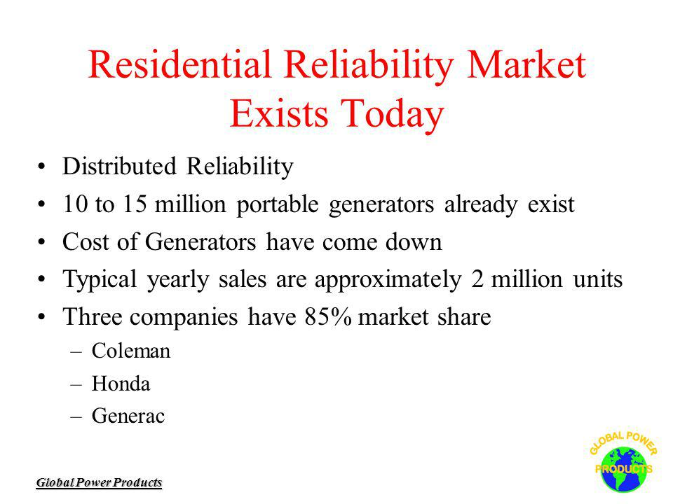 Global Power Products Distributed Reliability 10 to 15 million portable generators already exist Cost of Generators have come down Typical yearly sales are approximately 2 million units Three companies have 85% market share –Coleman –Honda –Generac Residential Reliability Market Exists Today