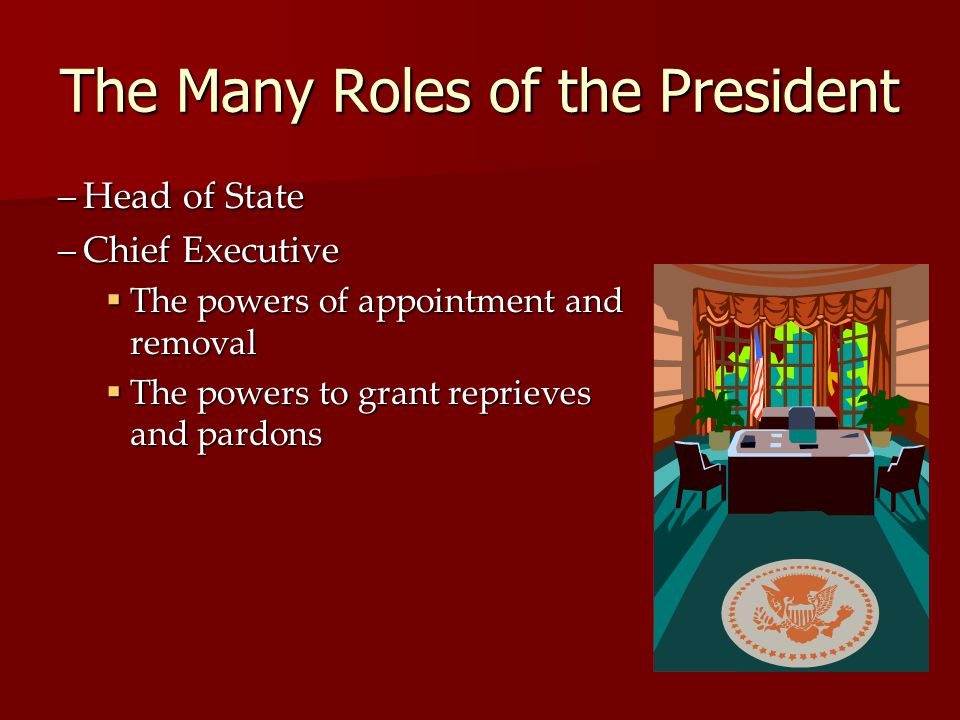 The Many Roles of the President –Head of State –Chief Executive The powers of appointment and removal The powers of appointment and removal The powers