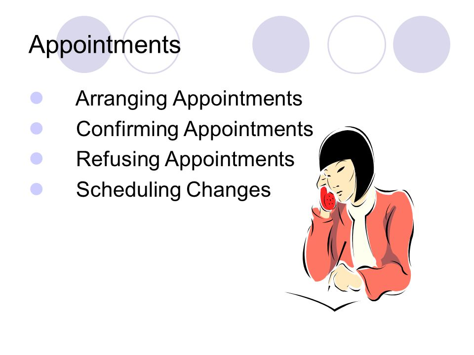 Appointments Arranging Appointments Confirming Appointments Refusing Appointments Scheduling Changes