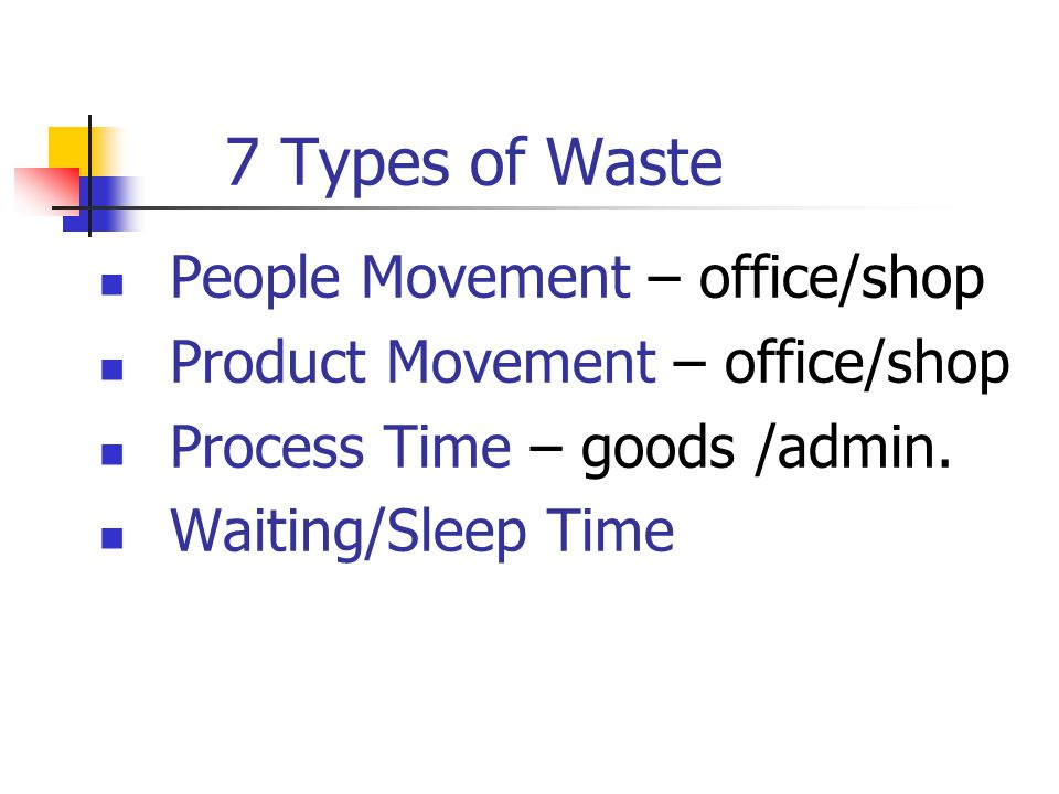 7 Types of Waste People Movement – office/shop Product Movement – office/shop Process Time – goods /admin.