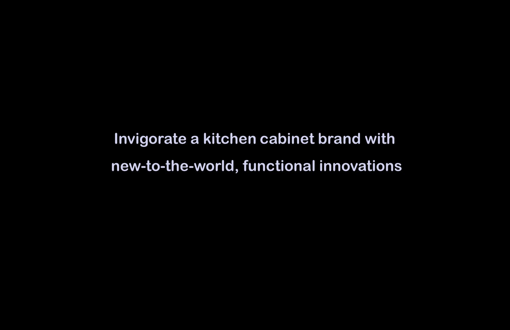 Invigorate a kitchen cabinet brand with new-to-the-world, functional innovations