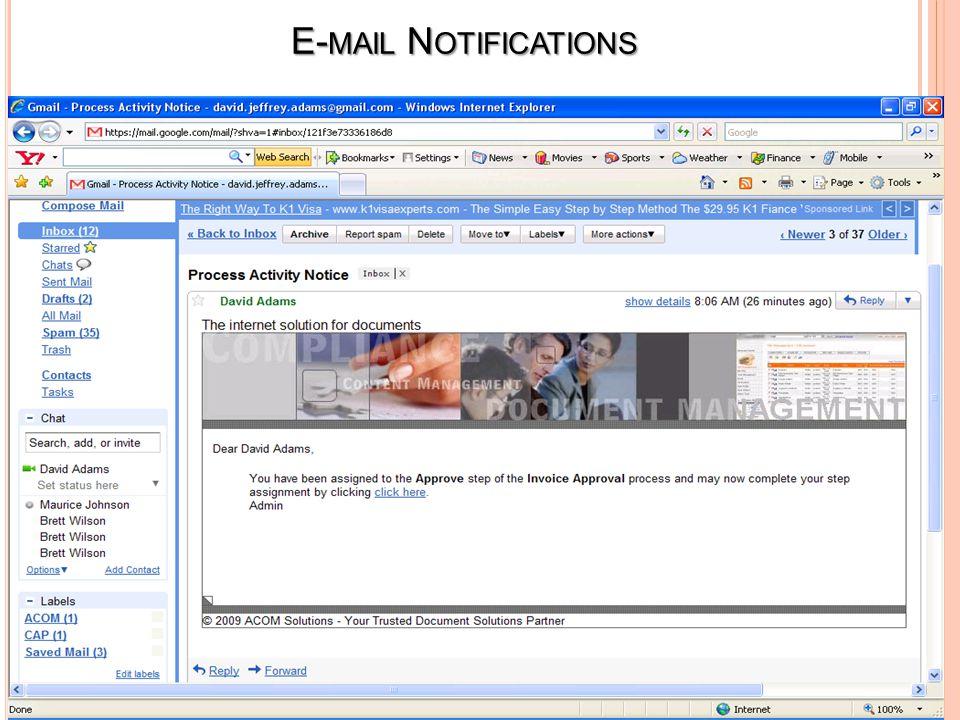 E- MAIL N OTIFICATIONS