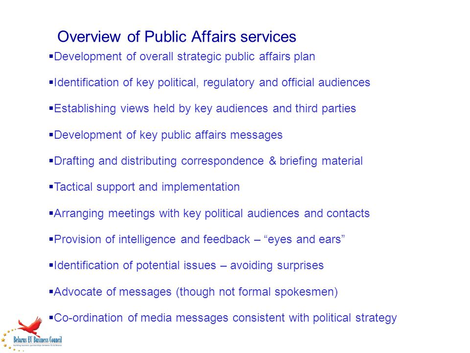 Overview of Public Affairs services Development of overall strategic public affairs plan Identification of key political, regulatory and official audi