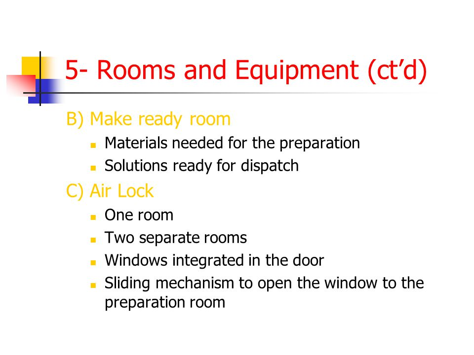 5- Rooms and Equipment (ctd) B) Make ready room Materials needed for the preparation Solutions ready for dispatch C) Air Lock One room Two separate ro