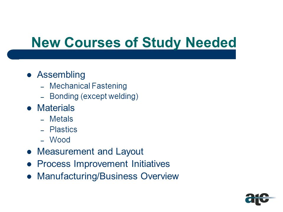 Career/Technical Education Alabama Department of Education C/T has some existing courses of study in place that match basic needs.