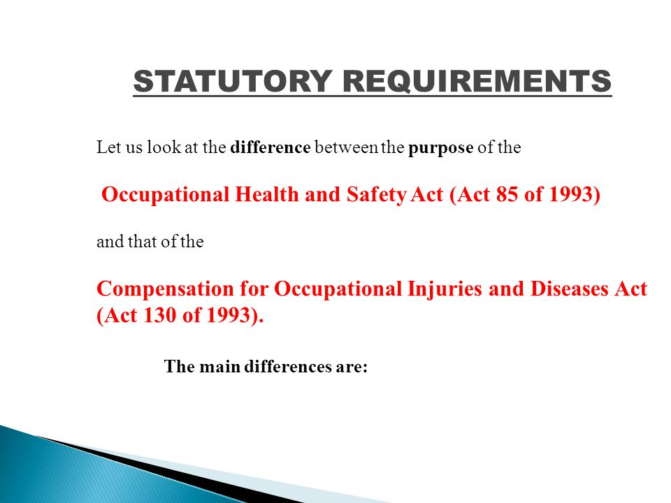 DEFINITIONS (continued) Health & Safety –a person designated in terms of Section 17(1) Representative Major incident- an occurrence of catastrophic proportions, resulting from the use of plant or machinery or from activities at a workplace.