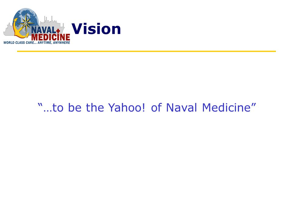 Mission Naval Medicine Online (NMO) will provide value to our people of Naval Medicine and its beneficiaries of our services medical and business-based Internet services and information; opportunities for peer-to-peer discovery and development; and a repository of authoritative and qualitative data driven web services.