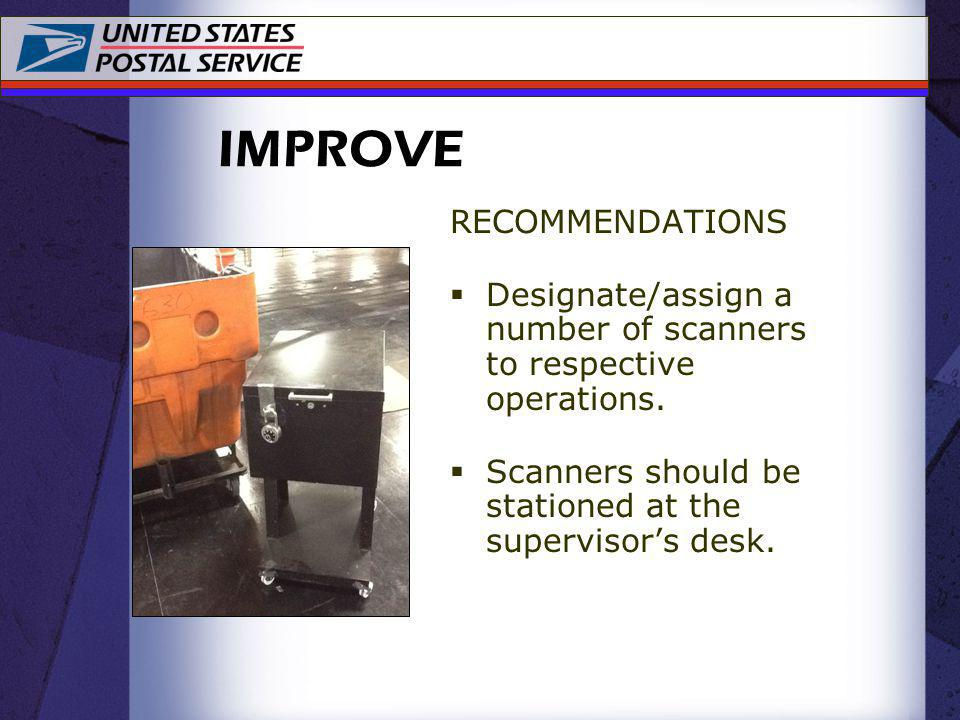 RECOMMENDATIONS Designate/assign a number of scanners to respective operations. Scanners should be stationed at the supervisors desk. IMPROVE