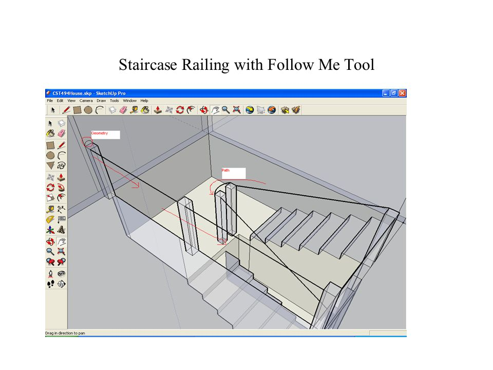 Staircase Railing with Follow Me Tool