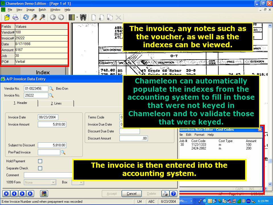 The invoice, any notes such as the voucher, as well as the indexes can be viewed.