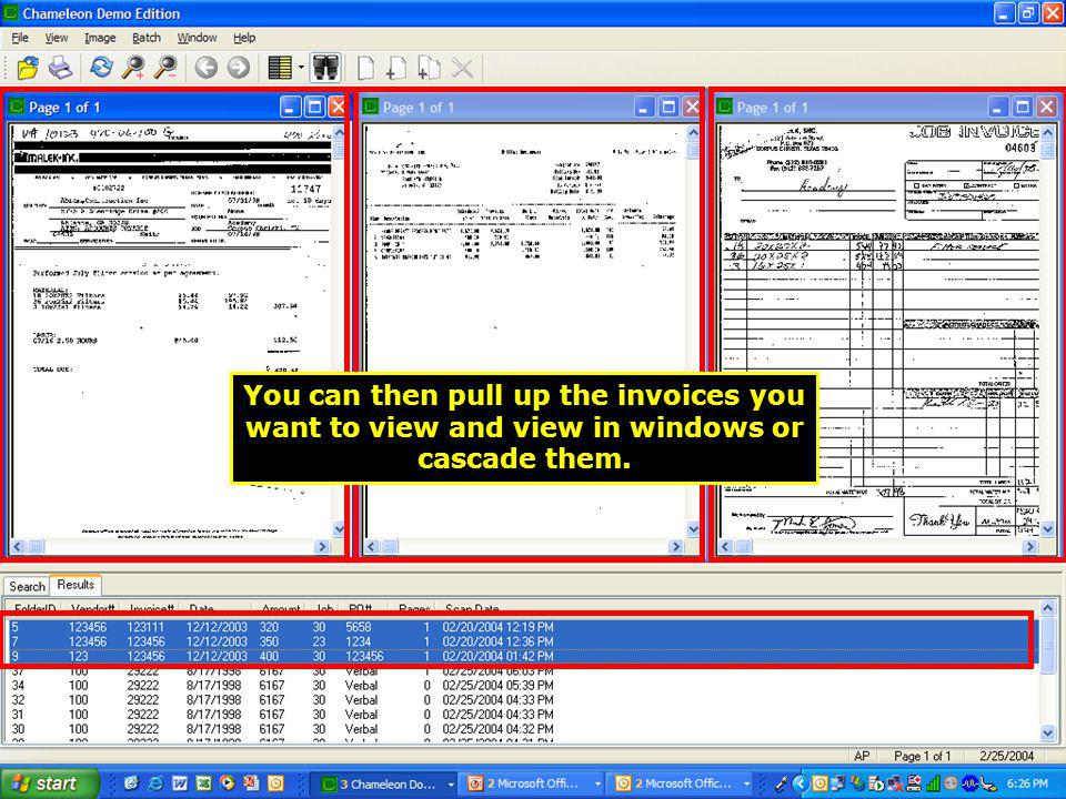 You can then pull up the invoices you want to view and view in windows or cascade them.