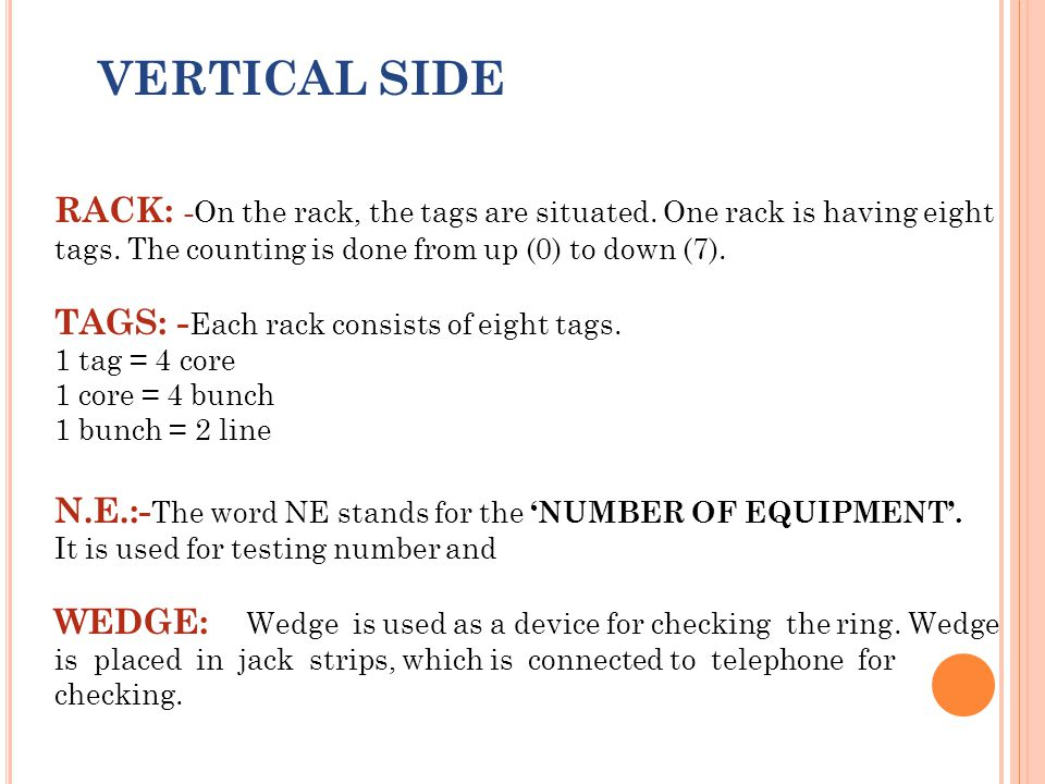 VERTICAL SIDE RACK: - On the rack, the tags are situated. One rack is having eight tags. The counting is done from up (0) to down (7). TAGS: - Each ra