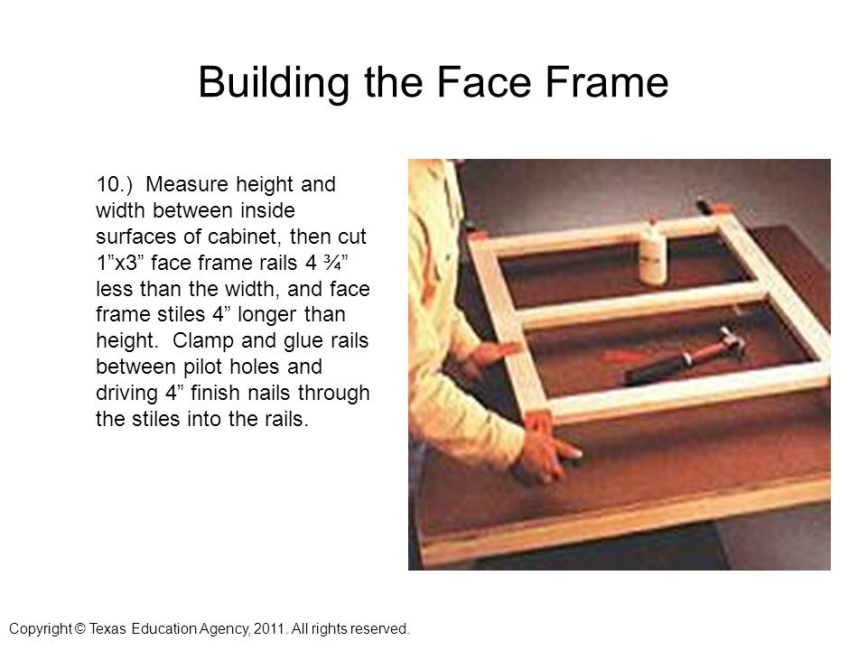 Building the Face Frame 10.) Measure height and width between inside surfaces of cabinet, then cut 1x3 face frame rails 4 ¾ less than the width, and face frame stiles 4 longer than height.