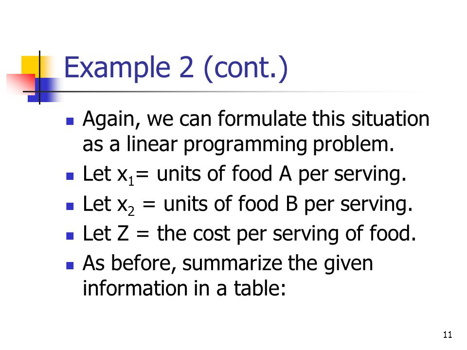 11 Example 2 (cont.) Again, we can formulate this situation as a linear programming problem. Let x 1 = units of food A per serving. Let x 2 = units of