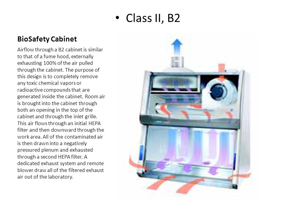 BioSafety Cabinet Class II, B2 Airflow through a B2 cabinet is similar to that of a fume hood, externally exhausting 100% of the air pulled through th