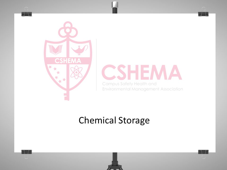 General Storage (Continued…) Mark date of receipt or opening on the label, as appropriate Identify a place for all materials this will help maintain order and safety Store only small quantities of currently-used items in the fume hood