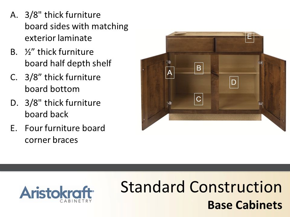 Standard Construction Base Cabinets A.3/8