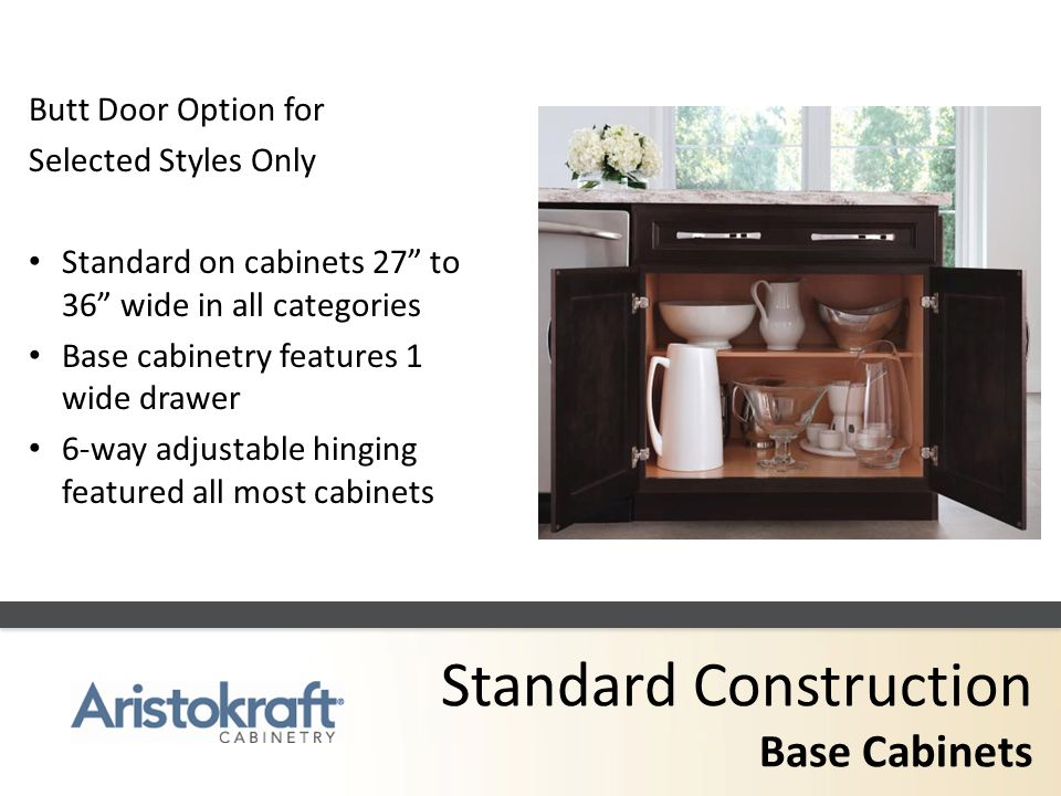 Standard Construction Base Cabinets A B C D E Butt Door Option for Selected Styles Only Standard on cabinets 27 to 36 wide in all categories Base cabi