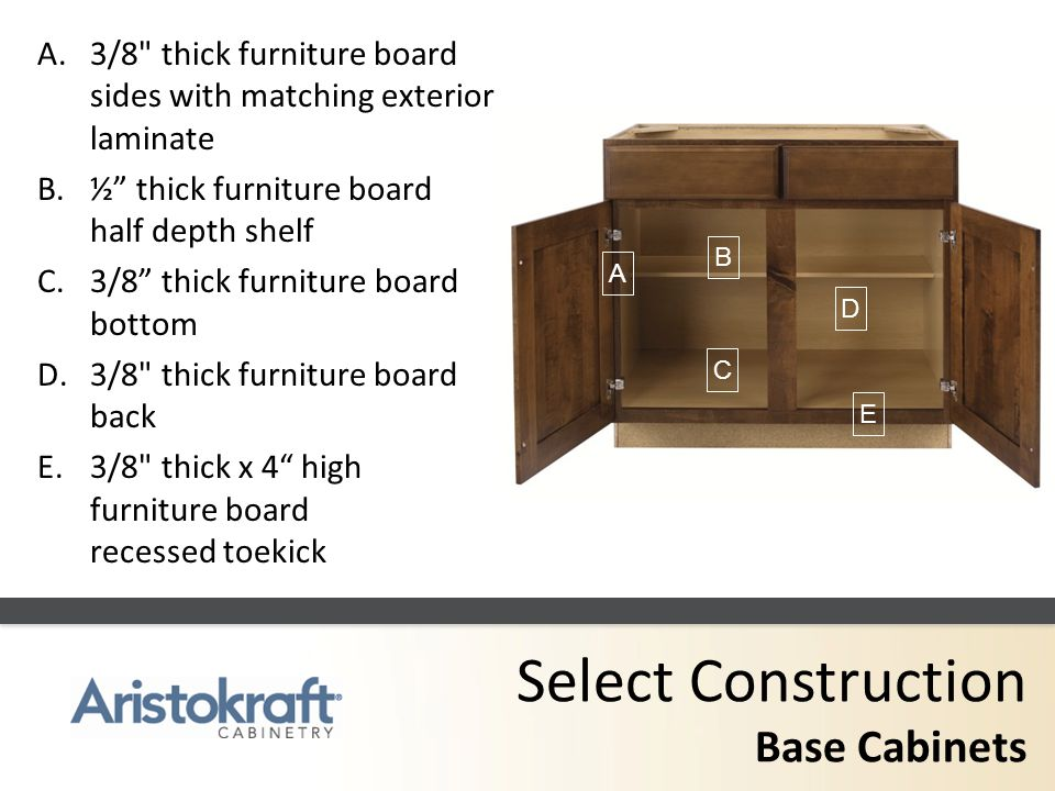 Select Construction Base Cabinets A.3/8