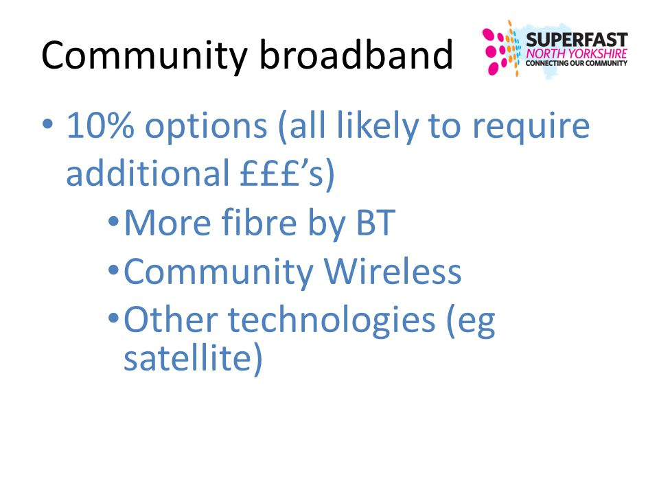 Community broadband 10% options (all likely to require additional £££s) More fibre by BT Community Wireless Other technologies (eg satellite)