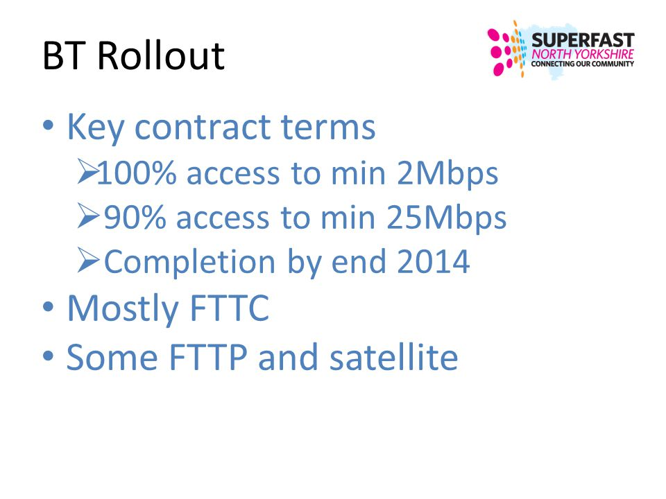 BT Rollout Key contract terms 100% access to min 2Mbps 90% access to min 25Mbps Completion by end 2014 Mostly FTTC Some FTTP and satellite