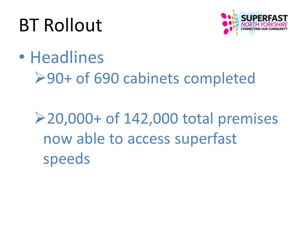 BT Rollout Headlines 90+ of 690 cabinets completed 20,000+ of 142,000 total premises now able to access superfast speeds