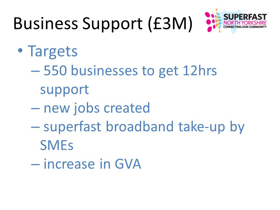 Business Support (£3M) Targets – 550 businesses to get 12hrs support – new jobs created – superfast broadband take-up by SMEs – increase in GVA