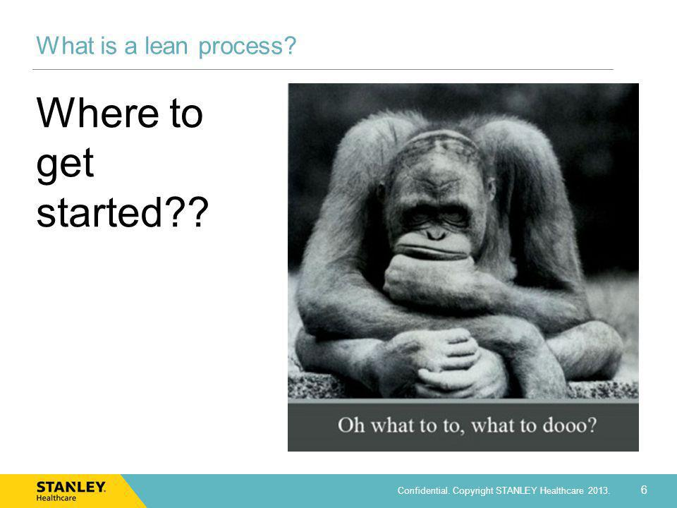 6 Confidential. Copyright STANLEY Healthcare 2013. What is a lean process? Where to get started??