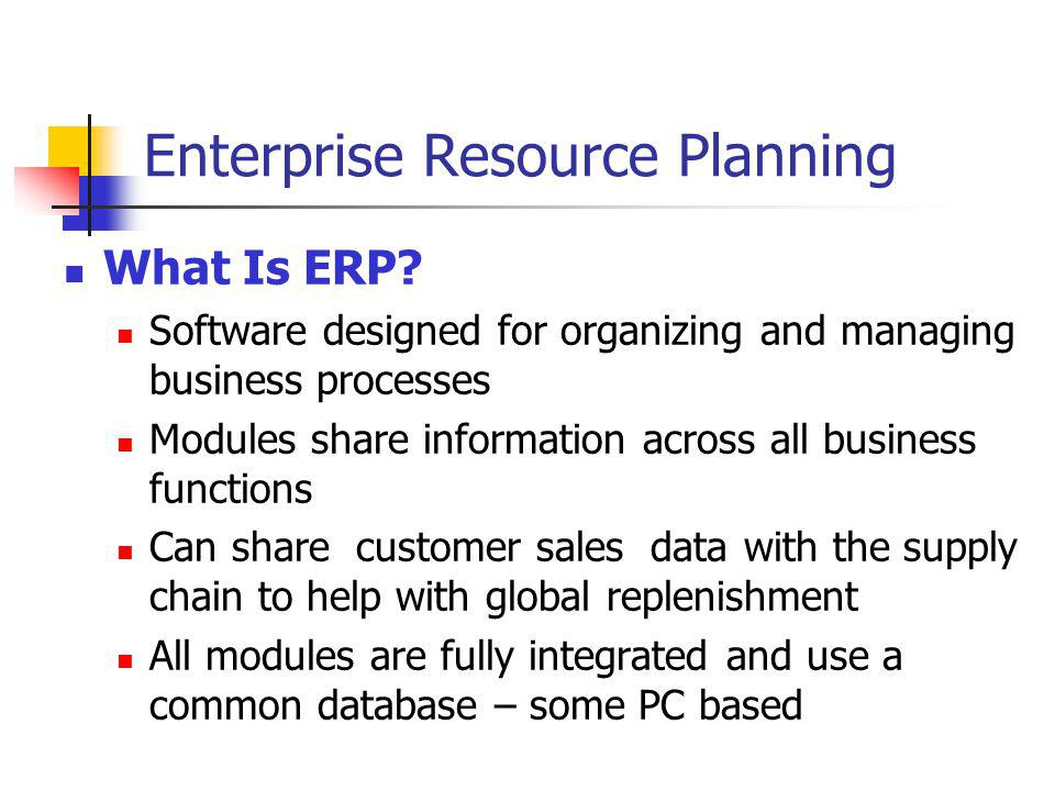 Enterprise Resource Planning What Is ERP? Software designed for organizing and managing business processes Modules share information across all busine