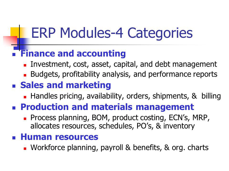 ERP Modules-4 Categories Finance and accounting Investment, cost, asset, capital, and debt management Budgets, profitability analysis, and performance
