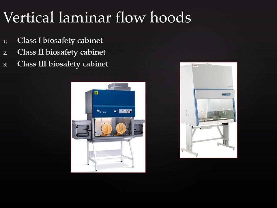 1. Class I biosafety cabinet 2. Class II biosafety cabinet 3.