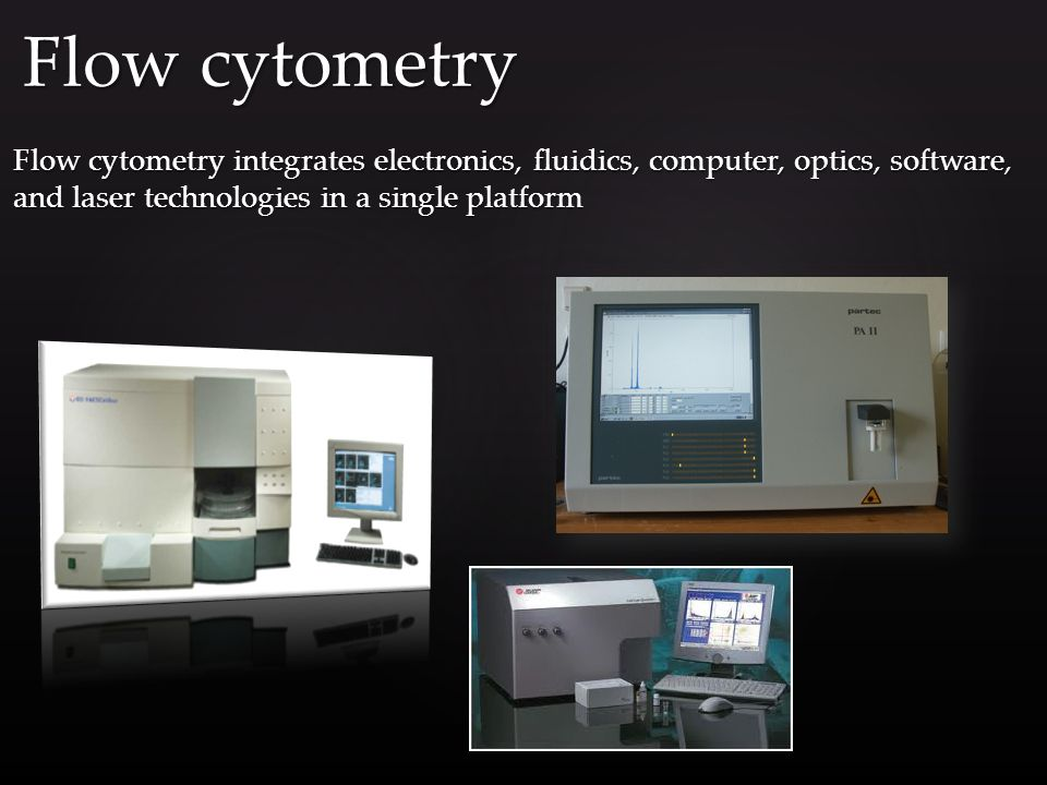 Flow cytometry integrates electronics, fluidics, computer, optics, software, and laser technologies in a single platform Flow cytometry
